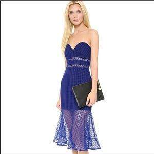 Self-Portrait Blue Strapless Dress